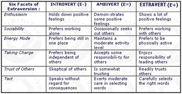 Six facets of extraversion - ambiversion - introversion.