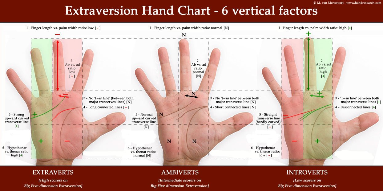 Extraversion hand chart: 6 vertical factors.