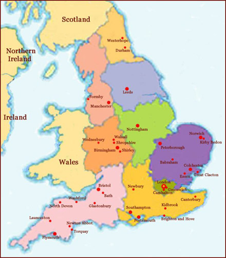 Hand reading network in England: map!