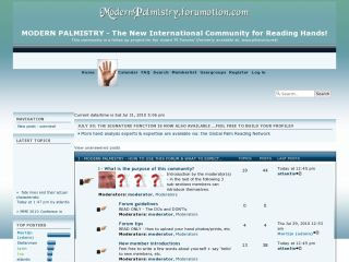 Snapshot of the new 'Modern Palmistry Forum'.