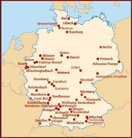 Hand reading network in Germany: map!