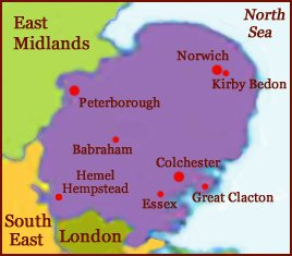 Hand reading network in East of England (England): map!