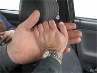 Leonid Stadnyk's left hand.
