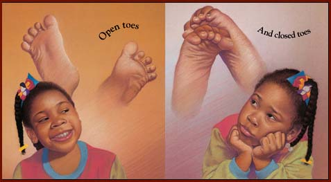 Toe reading: open toes & closed toes.