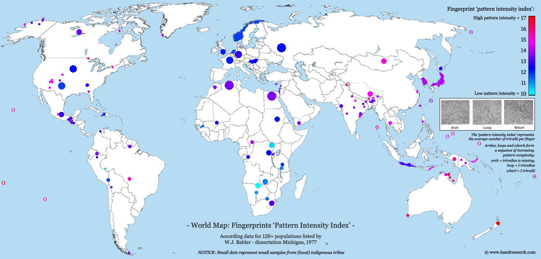 A world map of fingerprint distributions! Fingerprint-world-map-pattern-intensity-index