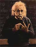 Alfred Einstein doing a left hand finger count.