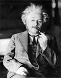 Usually Alfred Einstein smoked his pipe with the left hand.