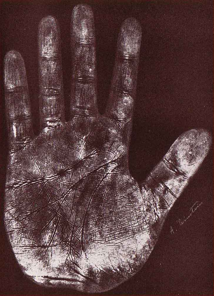 The handprint of Albert Einstein's left hand.