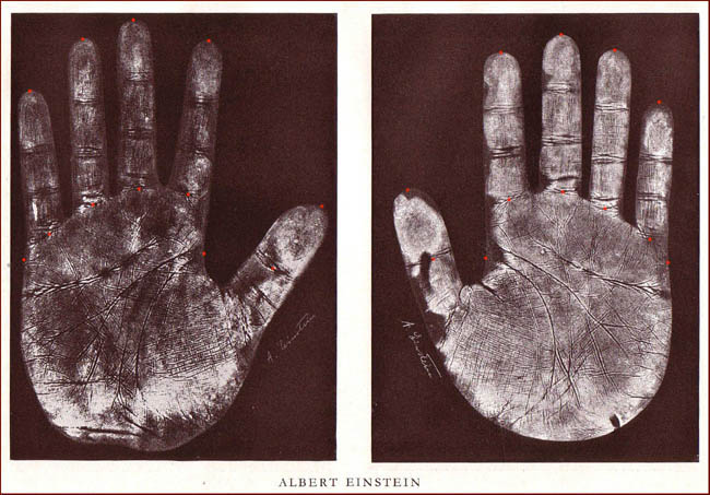 Handprints: the hands of Albert Einstein.