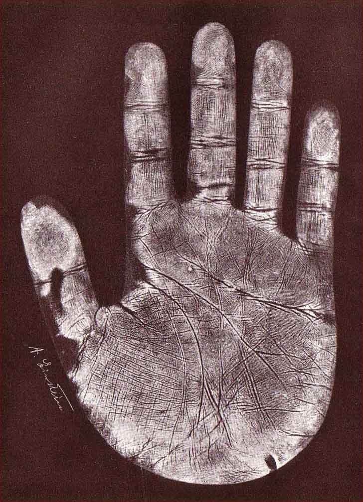 The handprint of Albert Einstein's right hand.