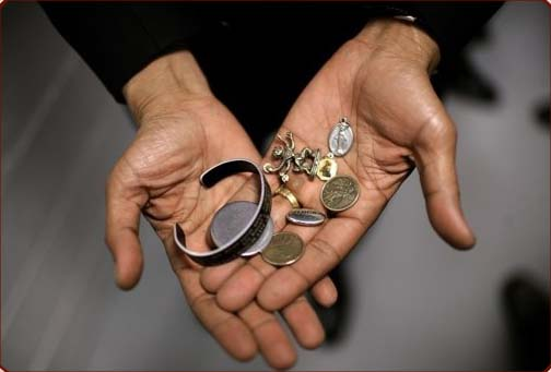 Barak Obama's hands of good luck.