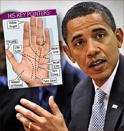 The hands of Barack Obama