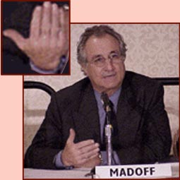 The finger length in Bernard Madoff's hand.