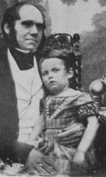 Charles Darwin and his son.