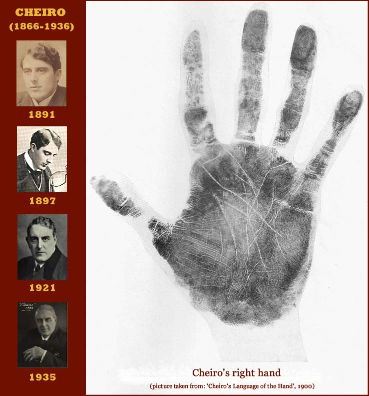 The handprint of palmist Cheiro - a.k.a. Count Louis Hamon from Ireland.