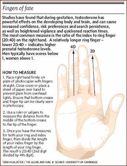 Fingers of fate: the measurement of the 2D:4D digit ratio.