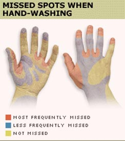 Missed spots during hand washing.