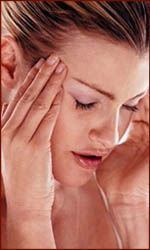 Two hands on a head: a sign for headache & migraine.
