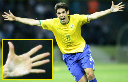 The hand of Brazilian football player Kaká.