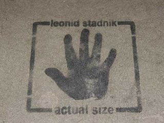 Spray print of Leonid Standyk's hand.