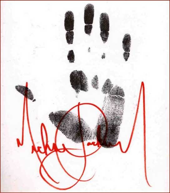 Michael Jackson right hand print & autograph.