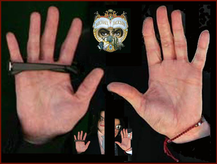 The hands of Michael Jackson: left hand + right hand.
