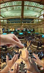 Hands of stock traders relate to financial success.