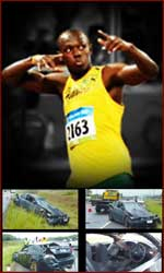 Usain Bolt has a fast sprint - but he enjoys driving fast cars as well: resulting in a car crash (april, 2009).