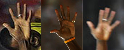 3 Snapshots of Usain Bolt's right hand.