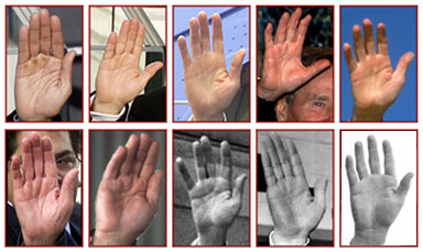 The hands of 10 US presidents