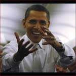US president Barack Obama: reaching hands.