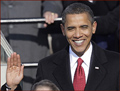 US president Barack Obama: right hand inauguration.