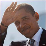 US president Barack Obama: right hand waving.