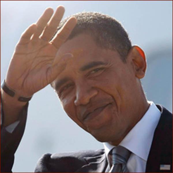 US president Barack Obama: right hand waving photo