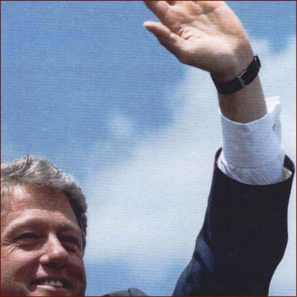 US president Bill Clinton: hand waving photo of his left hand