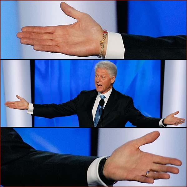 US president Bill Clinton: open hands photo