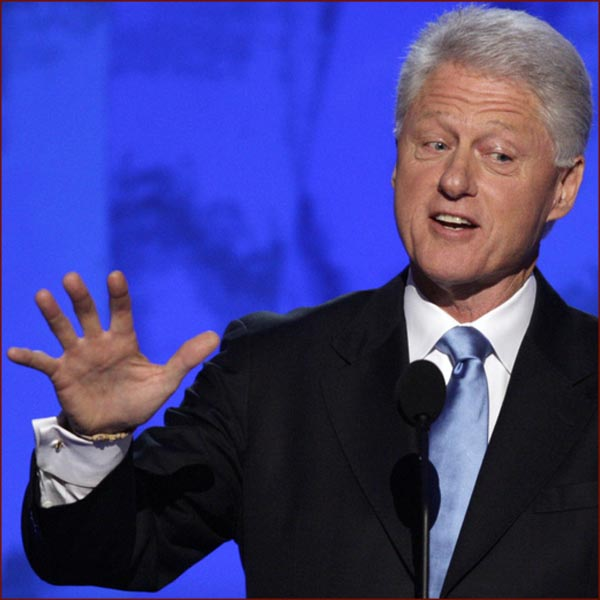 US president Bill Clinton: right hand gesture photo