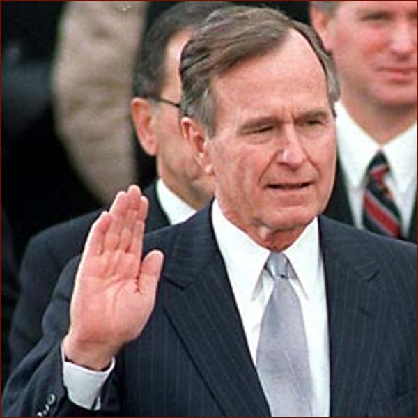 US president George H.W. Bush: right hand inauguration photo