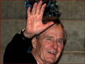 Former US president George H.W. Bush: right hand waving.