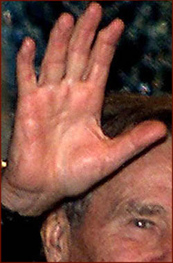 US president George H.W. Bush: right hand photo