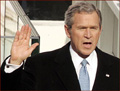 Former US president George W. Bush: right hand inauguration.