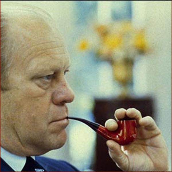 Former US president Gerald Ford: left hand pipe photo