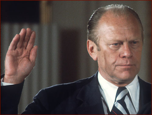 Former US president Gerald Ford: inauguration photo of his right hand