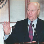 Former US president Gerald Ford: right hand open.