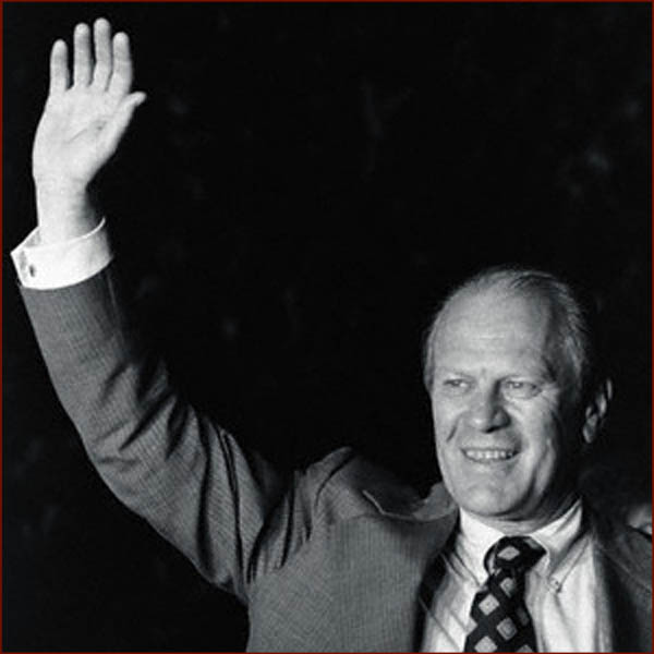 Former US president Gerald Ford: right hand waving photo