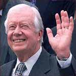 Former US president Jimmy Carter: left hand waving.