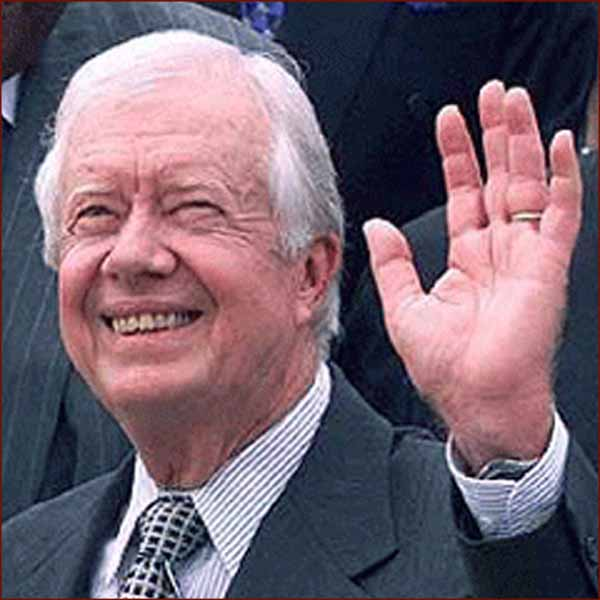 Former US president Jimmy Carter: left hand waving photo