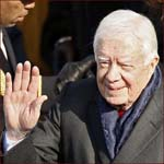 Former US president Jimmy Carter: right hand wave.