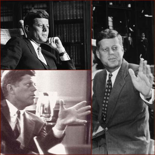 Former US president John F. Kennedy: left hand.