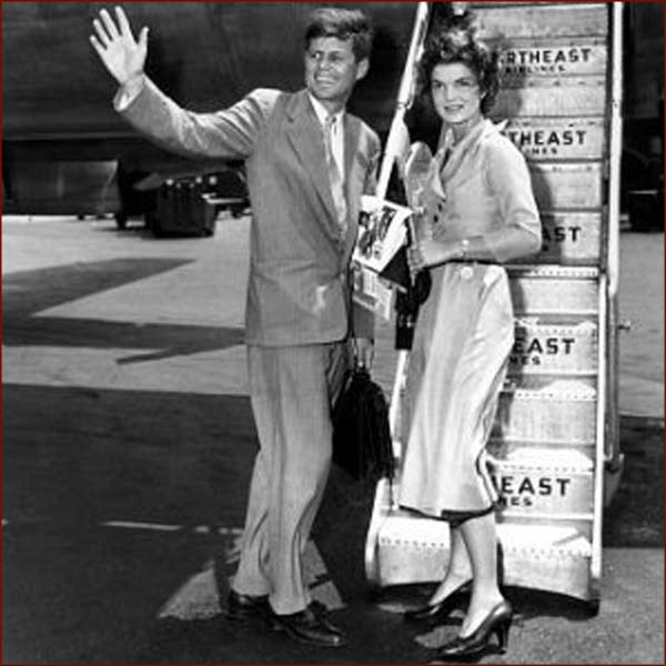US president John F. Kennedy (JFK) & Jackie Kennedy: right hand waving photo